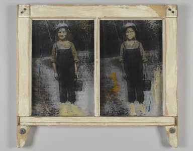 Mildred Howard (American, born 1945). Blueberries at Russell's Mill, 1993. Photoemulsion on glass, wooden frame, 21 1/2 x 23 3/4 in.  (54.6 x 60.3 cm). Brooklyn Museum, Gift of Margaret Cammer, 1998.190. © Mildred Howard