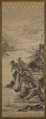 Soga Shohaku (Japanese, 1730-1781). River Landscape, 18th century. Hanging scroll, Ink on paper, 83 5/8 x 26 15/16 in. (212.4 x 68.4 cm). Brooklyn Museum, Gift of the Asian Art Council in memory of Council Member Barbara Young, 1998.39