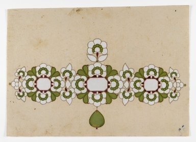 Jewelry Design, 19th century. Opaque watercolors and gold on paper, 6 x 8 1/2 in. (5.3 x 21.6 cm). Brooklyn Museum, Gift of Dr. Bertram H. Schaffner, 1998.42.1