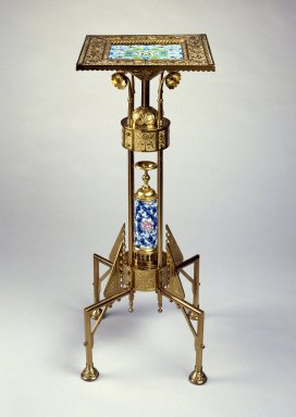 Bradley & Hubbard Manufacturing Company (active 1854-1940). Stand, 1885. Brass, glazed earthenware, 32 13/16 x 13 3/8 x 13 3/8 in. (83.3 x 34.0 x 34.0 cm). Brooklyn Museum, Gift of the American Art Council, 1998.45. Creative Commons-BY
