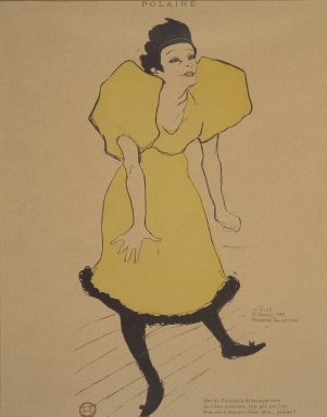 Henri de Toulouse-Lautrec (French, 1864-1901). Polaire, from La Rire, February 23, 1895. Photo-lithograph on newsprint, 10 3/8 x 4 7/8 in. (26.4 x 12.6 cm). Brooklyn Museum, Gift of Eileen and Michael Cohen, 1998.56.11