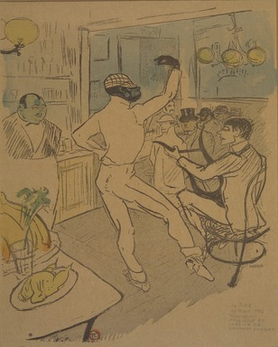 Henri de Toulouse-Lautrec (French, 1864-1901). Chocolat dansant dans un bar, from La Rire, March 28, 1896. Photo-lithograph on newsprint, 9 1/2 x 8 1/8 in. (24.2 x 20.6 cm). Brooklyn Museum, Gift of Eileen and Michael Cohen, 1998.56.12
