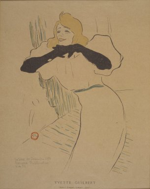 Henri de Toulouse-Lautrec (French, 1864-1901). Yvette Guilbert, from La Rire, December 22, 1894. Photo-lithograph on newsprint, 6 3/8 x 9 1/8 in. (16.2 x 23.2 cm). Brooklyn Museum, Gift of Eileen and Michael Cohen, 1998.56.13