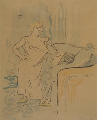 Henri de Toulouse-Lautrec (French, 1864-1901). Qu'est-ce qu'on va dejeuner?, from La Rire, October 24, 1896. Photo-lithograph on newsprint, 9 13/16 x 7 13/16 in. (24.9 x 19.8 cm). Brooklyn Museum, Gift of Eileen and Michael Cohen, 1998.56.16