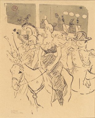 Henri de Toulouse-Lautrec (French, 1864-1901). Entree de Cha-u-Kao, from La Rire, February 15, 1896. Photo-lithograph on newsprint, 9 1/16 x 7 5/8 in. (23.0 x 19.4 cm). Brooklyn Museum, Gift of Eileen and Michael Cohen, 1998.56.5