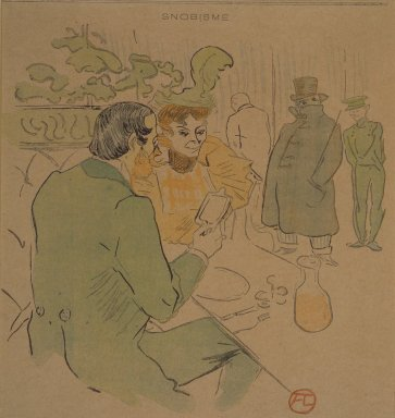Henri de Toulouse-Lautrec (French, 1864-1901). Snobisme, from La Rire, April 24, 1897. Photo-lithograph on newsprint, 7 15/16 x 7 7/8 in. Brooklyn Museum, Gift of Eileen and Michael Cohen, 1998.56.9