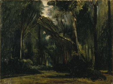 Paul Huet (French, 1803-1869). Landscape in the Forest at Compiègne, 1826-1828. Oil on canvas, 13 x 17 1/8 in. (33 x 43.5 cm). Brooklyn Museum, Anonymous gift in honor of Sarah Faunce, Curator of Painting and Sculpture, 1969-98, 1998.78