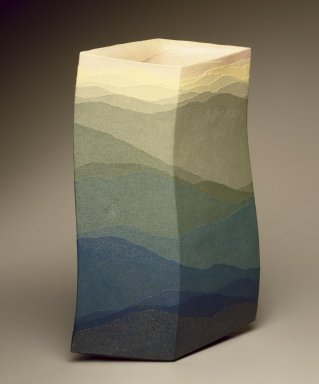 Miyashita  Zenji (Japanese, born 1939). Flower Vase (Saidei Kaki), 1998. Colored stoneware with clear glaze, 15 1/4 x 10 x 5 in. (39.0 x 25.5 x 12.0 cm). Brooklyn Museum, Gift of friends of The Roebling Society in memory of Barbara Young, 1998.81. Creative Commons-BY