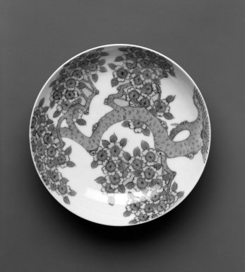Dish, Nabeshima Ware, ca. 1690-1720. White porcelain with underglaze blue decoration, 1 3/8 x 5 3/4 in.  (3.5 x 14.5 cm). Brooklyn Museum, Gift of Masahiro Hashiguchi, 1998.83. Creative Commons-BY