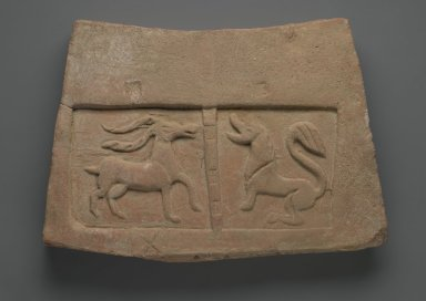 Tile Relief with Antelope and Lion, 5th century. Terracotta, 9 7/8 x 14 15/16 x 1 7/8 in. (25.0 x 37.7 x 5.0 cm). Brooklyn Museum, Gift of Dr. Bertram H. Schaffner, 1998.86.2. Creative Commons-BY