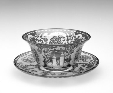 Finger Bowl and Underplate, ca. 19th century. Glass, a. Finger Bowl: 2 x 4 5/8 x 4 /58 in.  (5.1 x 11.7 x 11.7 cm). Brooklyn Museum, Gift of Hattie Forgang, 1998.92.4a-b. Creative Commons-BY