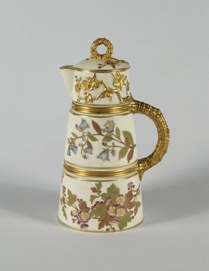 Worcester Royal Porcelain Co. (founded 1751). Chocolate Pot and Lid, ca. 1884-1889. Porcelain, 10 x 6 1/8 x 4 3/4 in.  (25.4 x 15.6 x 12.1 cm). Brooklyn Museum, Gift of Allen and Sydell Glass in memory of Irving Rubenstein and Blanche Roven, 1998.93.2a-b. Creative Commons-BY