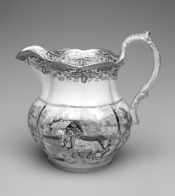 Davenport. Pitcher, ca. 1825-1830. Glazed earthenware, 4 3/4 x 5 1/4 x 3 3/4 in.  (12.1 x 13.3 x 9.5 cm). Brooklyn Museum, Gift of Allen and Sydell Glass in memory of George Dwork, 1998.93.9. Creative Commons-BY