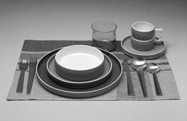 Gerald Gulotta (American, born 1921). Dessert Plate, Chromatics Line, Designed 1970; Made 1971-1973. Glazed earthenware, 7/8 x 7 7/8 in.  (2.2 x 20.0 cm). Brooklyn Museum, Gift of the artist, 1998.94.41. Creative Commons-BY