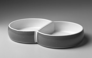 Gerald Gulotta (American, born 1921). Divided Vegetable Dish, Chromatics Line, Designed 1970; Made 1971-1973. Glazed earthenware, 1 7/8 x 10 7/8 x 6 5/8 in.  (4.8 x 27.6 x 16.8 cm). Brooklyn Museum, Gift of the artist, 1998.94.33. Creative Commons-BY
