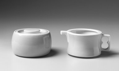 Gerald Gulotta (American, born 1921). Sugar Bowl and Lid, Chromatics Line, Designed 1970; Made 1971-1973. Glazed earthenware, a. Bowl: 2 3/8 x 3 3/4 in. Brooklyn Museum, Gift of the artist, 1998.94.36a-b. Creative Commons-BY