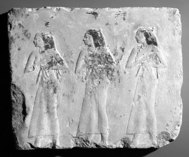 Relief of Mourning Women, 381-343 B.C.E. Limestone, painted, 11 7/16 x 13 3/8 x 1 3/8 in. (29 x 34 x 3.5 cm). Brooklyn Museum, Charles Edwin Wilbour Fund, 1998.98. Creative Commons-BY