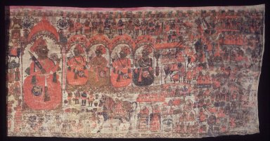 Pabuji Phad Painting, early 20th century. Pigment on cloth, 51 x 189 in.  (129.5 x 480.1 cm). Brooklyn Museum, Gift of Dr. Alvin E. Friedman-Kien, 1999.100