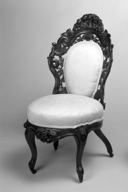 John Henry Belter (American, born Germany, 1804-1863). Chair, ca. 1840-1850. Laminated wood with upholstered seats Brooklyn Museum, Bequest of Miriam Godofsky, 1999.105.3. Creative Commons-BY