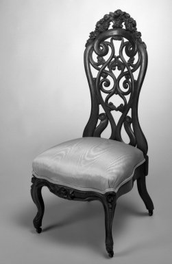 John Henry Belter (American, born Germany, 1804-1863). Chair, ca.1850. Laminated wood with upholstered seats Brooklyn Museum, Bequest of Miriam Godofsky, 1999.105.5. Creative Commons-BY