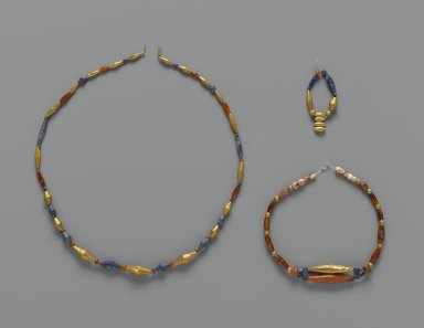 Sumerian. Necklace Elements, ca. 2600-2500 B.C.E. Gold, lapis lazuli, carnelian on modern string