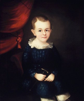 American. Portrait of a Child of the Harmon Family, ca. 1840s. Oil on canvas, 28 x 23 3/4 in.  (71.1 x 60.3 cm). Brooklyn Museum, Gift of Mr. and Mrs. Jason Berger, 1999.111.1