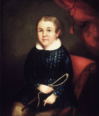 American. Portrait of a Child of the Harmon Family, ca. 1840s. Oil on canvas, 28 x 23 7/8 in.  (71.1 x 60.6 cm). Brooklyn Museum, Gift of Mr. and Mrs. Jason Berger, 1999.111.2
