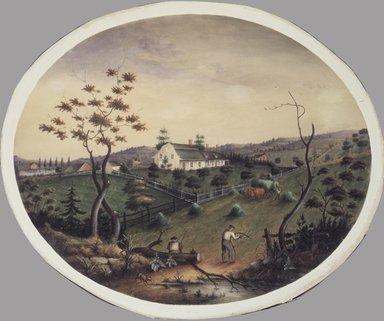 James Ryder van Brunt (American, 1820-1916). Van Brunt Homestead, ca. 1865. Opaque and transparent watercolor and graphite on wove paper mounted to pulpboard, 14 3/4 x 18 in. (37.5 x 45.7 cm). Brooklyn Museum, Bequest of Miriam Godofsky, 1999.112