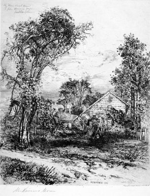 "Mary Nimmo Moran (American, 1842-1899). The ""Home Sweet Home"" of John Howard Payne, East Hampton, 1885. Etching on medium, cream, smooth wove Japanese paper, Image: 15 15/16 x 13 in.  (40.5 x 33.0 cm). Brooklyn Museum, Gift of Alexander Liberman, by exchange, 1999.117"