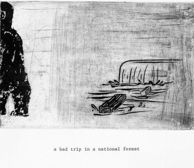 Amy Sillman (born U.S.A., 1955). A Bad Trip in a National Forrest, 1999. Etching on paper, sheet: 11 1/4 x 9 in. (28.6 x 22.9 cm). Brooklyn Museum, Gift of the Lower East Side Printship in honor of Marilyn Kushner, 1999.119.10. © Amy Sillman