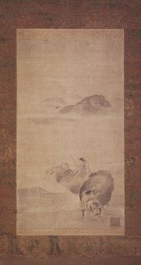 Yi, Kyoung (Korean, 16th century). Boy Riding an Ox, 16th century. Hanging Scroll; Ink and light color on paper, 52 3/4 x 15 3/4in. (134 x 40cm). Brooklyn Museum, Gift of Mr. and Mrs. Leighton R. Longhi, 1999.135