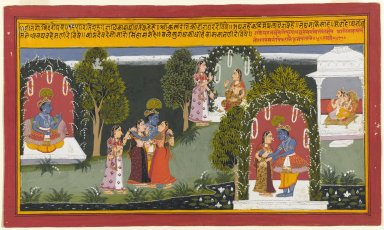 Indian. Kama and Rati Witness the Reunion of Krishna and Radha, Page from a Gita Govinda Series, 1714. Opaque watercolor and gold on paper, sheet: 10 x 16 15/16 in.  (25.4 x 43.0 cm);. Brooklyn Museum, Gift of Anthony A. Manheim, 1999.136.6