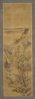 Shang Rui (Chinese, 1634-ca. 1724). Landscape, 1679. Hanging scroll; Ink and slight color on silk, Overall: 51 3/4 x 13 7/8 in. (131.5 x 35.2 cm). Brooklyn Museum, Gift of Amy and Robert L. Poster, 1999.137.1