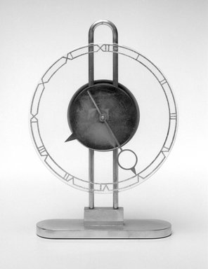 American. Clock, ca. 1935. Metal, glass, 10 x 6 1/4 x 2 1/8 in.  (25.4 x 15.9 x 5.4 cm). Brooklyn Museum, Gift of Paul F. Walter, 1999.141.6. Creative Commons-BY