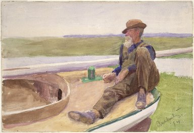 Thomas Pollack Anshutz (American, 1851-1912). Recto: [Untitled] (Man in Boat)  Verso: [Untitled] (Beach Scene), 1894. Watercolor over graphite (recto & verso) on cream, moderately thick, slightly textured wove paper, 8 13/16 x 12 15/16 in. (22.4 x 32.9 cm). Brooklyn Museum, Gift of Ruth Bowman, 1999.143a-b