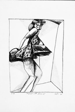 Gerson Leiber (American, born 1921). Nymph with Purses ll, 1990-1991. Lithograph, Sheet: 19 x 13 3/16 in. (48.3 x 33.5 cm). Brooklyn Museum, Gift of Mr. and Mrs. Gerson Leiber, 1999.146.3. © Gerson Leiber