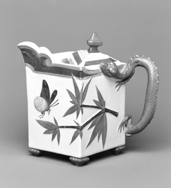 Worcester Royal Porcelain Co. (founded 1751). Hot Milk Pot, shape 253, introduced 1872, made 1879. Porcelain, 6 x 7 x 5 1/8 in. (15.3 x 17.8 x 13 cm). Brooklyn Museum, Gift of the Estate of Harold S. Keller, 1999.152.150a-b. Creative Commons-BY