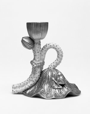 Worcester Royal Porcelain Co. (founded 1751). Lotus Candlestick, shape 1088, ca. 1885. Porcelain, 4 1/2 x 4 7/8 x 3 3/8 in. (11.4 x 12.4 x 8.6 cm). Brooklyn Museum, Gift of the Estate of Harold S. Keller, 1999.152.221. Creative Commons-BY