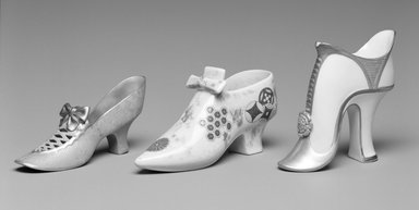 Worcester Royal Porcelain Co. (founded 1751). Slipper, ca. 1875. Porcelain, ivory, 3 3/8 x 6 1/4 x 2 1/4 in.  (8.6 x 15.9 x 5.7 cm). Brooklyn Museum, Gift of Mrs. William E. S. Griswold in memory of her father, John Sloane, 41.980.53. Creative Commons-BY