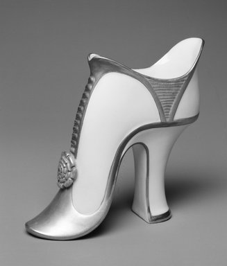 Worcester Royal Porcelain Co. (founded 1751). Shoe, 1883. Porcelain, 5 1/4 x 4 5/8 x 2 in. (13.3 x 11.7 x 5.1 cm). Brooklyn Museum, Gift of the Estate of Harold S. Keller, 1999.152.23. Creative Commons-BY