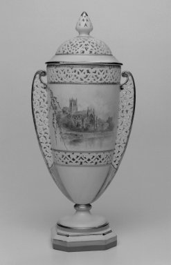 Grainger and Co.. Vase and Cover, before 1889. Porcelain, 11 x 5 x 3 5/8 in. (27.9 x 12.7 x 9.2 cm). Brooklyn Museum, Gift of the Estate of Harold S. Keller, 1999.152.48a-b. Creative Commons-BY