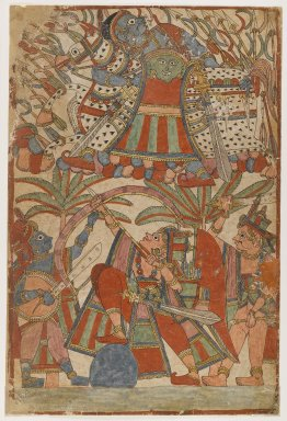 Page from a Ramayana Series, ca. 1850. Opaque watercolor on paper, 18 5/8 x 12 1/2 in.  (47.3 x 31.8 cm). Brooklyn Museum, Purchased with funds given by Dr. Bertram H. Schaffner, 1999.19