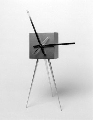Karim Rashid (Canadian, born Egypt, 1960). Abaxial Clock, 1992. Aluminum and other metals, 9 x 4 1/4 x 4 1/4 in. (22.9 x 10.8 x 10.8 cm). Brooklyn Museum, Gift of Karim Rashid, 1999.28.7. Creative Commons-BY