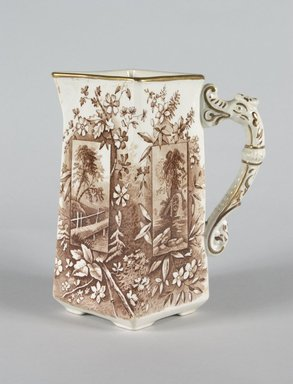 """Ridgways. Small Pitcher, """"Vistas,"""" 1880-1885. Glazed earthenware, 6 1/2 x 5 1/2 x 3 3/8 in.  (16.5 x 14.0 x 8.6 cm). Brooklyn Museum, Gift of Paul F. Walter, 1999.29.53. Creative Commons-BY"""