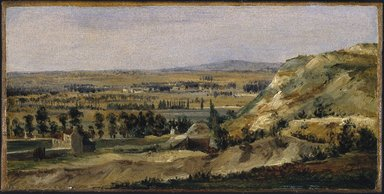 Théodore Rousseau (French, 1812-1867). Panoramic Landscape (Paysage panoramique), ca. 1831-1834. Oil on paper mounted on canvas, 5 5/8 x 11 1/2 in. (14.3 x 29.2 cm). Brooklyn Museum, Healy Purchase Fund B, 1999.30
