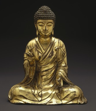 Seated Buddha Shakyamuni, 965 or 1025. Gilt bronze, 8 1/2 x 7 1/4 x 4 3/4 in. (21.6 x 18.4 x 12.1 cm). Brooklyn Museum, Gift of the Asian Art Council in memory of Mahmood T. Diba and Mary Smith Dorward Fund, 1999.42. Creative Commons-BY