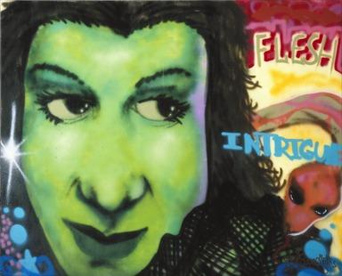 Chris Ellis aka Daze, American (born 1962). Flesh and Intrigue, 1984. Spray paint on canvas, 70 1/8 x 86 7/8 in. (178.1 x 220.7 cm). Brooklyn Museum, Gift of Carroll Janis and Conrad Janis, 1999.57.11. © Chris Ellis aka Daze