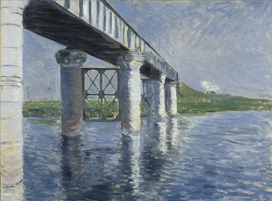 Gustave Caillebotte (French, 1848-1894). The Seine and the Railroad Bridge at Argenteuil (La Seine et le pont du chemin de fer d'Argenteuil), 1885 or 1887. Oil on canvas, 45 1/2 x 61 in. (115.6 x 154.9 cm). Brooklyn Museum, Gift of The Arthur M. Sackler Foundation, 1999.76.1
