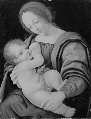 Giovanni Antonio Boltraffio (or Beltraffio) (Italian, Milanese, ca. 1467-1516). Madonna and Child, or Nursing Madonna, ca. 1500. Oil on canvas glued to wood panel, 17 x 13 in.  (43.2 x 33.0 cm). Brooklyn Museum, Gift of The Arthur M. Sackler Foundation, 1999.76.2