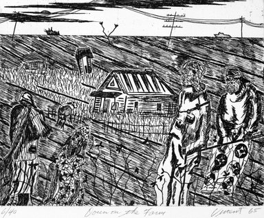 Vincent DaCosta Smith (American, born 1929). Down on the Farm, 1965; printed 1994. Etching on paper, sheet: 19 11/16 x 16 1/16 in. (50 x 40.8 cm). Brooklyn Museum, Emily Winthrop Miles Fund, 1999.78.3. © Estate of Vincent DaCosta Smith